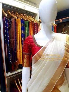 Kerala Saree Blouse Designs, Saree Blouse Neck Designs, Simple Blouse Designs, Stylish Blouse Design, Bridal Blouse Designs, Blouse Patterns, Onam Saree, Sarees, Set Saree