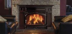 Vermont Castings Montpelier Non-Catalytic Wood Burning Insert – InSeason Fireplaces Wood Burning Insert, Wood Insert, Wood Burning Fires, Dark Wood Kitchen Cabinets, Dark Wood Kitchens, Fireplace Cover, Fireplace Design, Fireplace Ideas, Vermont