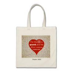 Heart love scripture budget tote bag