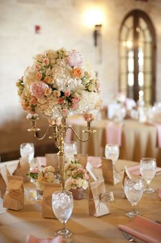 A Classic Romantic Blush and White Centerpiece | Photo by http://stephanieasmith.com, Florals by http://fhweddings.com // see more: http://theeverylastdetail.com/a-classic-romantic-blush-and-white-wedding/