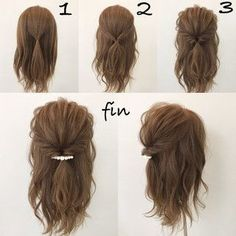 This hairstyle is easy and quick! Works best when you have a little curl on your hair, spray sea salt texturizing spray it to give you fullness and vo… - Coiffure Sites Pretty Hairstyles, Braided Hairstyles, Quick Easy Hairstyles, Hairstyle Ideas, Easy Hair Styles Quick, Short Hair Updo Easy, Easy Hairstyles For Medium Hair, Short Prom Hair, How To Style Short Hair