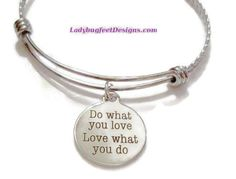 Do what YOU love, LOVE what YOU do! twisted stainless steel bangle Bracelet, One Size Fits Most