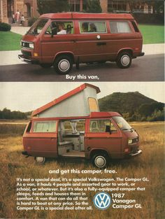 "Volkswagen Vanagon Camper GL Original 1987 Vintage Print Ad Color Photo Red Van ""Buy this van, and get this camper, free.""; Mom's Taxi"