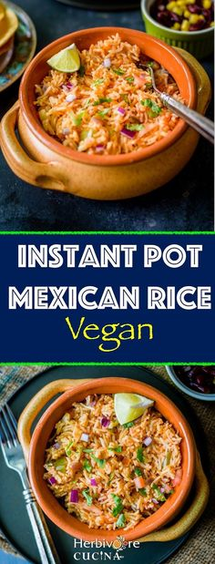 Herbivore Cucina Instant Pot Mexican Rice 30 minute recipe to make Restaurant style Mexican Rice in the Instant Pot This one pot Vegan meal is also a great side for tacos. Mexican Food Recipes, Whole Food Recipes, Vegetarian Recipes, Dinner Recipes, Vegetarian Mexican, Mexican Dishes, Instant Pot Pressure Cooker, Pressure Cooker Recipes, Pressure Cooking