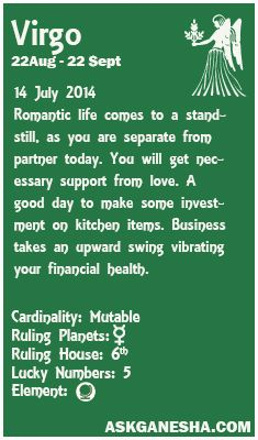 Virgo Daily horoscope for 14th July 2014.