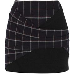 Thakoon Addition Jersey-paneled plaid twill mini skirt ($175) ❤ liked on Polyvore featuring skirts, mini skirts, bottoms, black, plaid miniskirt, short skirts, short wrap skirt, short plaid skirt and tartan mini skirt