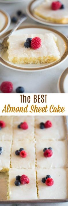 A delicious white sheet cake with a hint of almond flavor and a vanilla almond frosting.#cake #sheetcake #dessert #easy via @betrfromscratch