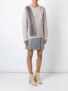 mink fur panel sweater
