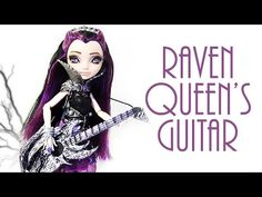How to make Raven Queen's Guitar -HeXian Barbie Clothes, Barbie Dolls, Monster High Beds, Raven Queen Doll, Ever After High, Doll Repaint, Doll Furniture, Doll Crafts, Custom Dolls
