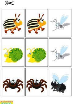 Preschool Games, Montessori Activities, Preschool Worksheets, Science Activities, Toddler Activities, Cartoon Stickers, Memory Games, Camping Theme, Bugs And Insects