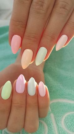 Easy Spring Nails & Spring Nail Art Designs To Try In Pastel Spring Nails. Simple spring nails colors for acrylic nails, gel nails and shellac spring nails. These easy Spring nail art ideas with pastel colors are a must try. Spring Nail Art, Nail Designs Spring, Nail Summer, Spring Design, Easter Nail Designs, Cute Nails For Spring, Summer Shellac Nails, Fall Nails, Summer Holiday Nails