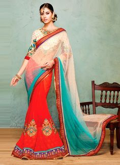 Off White and Red Georgette and Net Designer Saree www.ethnicoutfits.com Email : support@ethnicoutfits.com What's app : +918141377746 Call : +918140714515