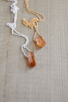 Raw Hessonite Garnet Necklace in Silver or Gold, January Birthstone, Garnet Point Necklace, Cinnamon Stone, Rough Crystal Jewellery