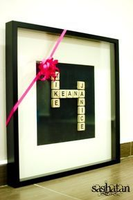 Scrabble Tiles  Family Names in Frame... Cute idea, but I can't get our names to work together... Kim, Andrew, Sydney, Luke. Help?