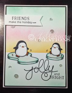 Pastels for 'Tis the Season w/ Arctic Penguins! Mama Elephant | hollybearycreations (10.31.14)