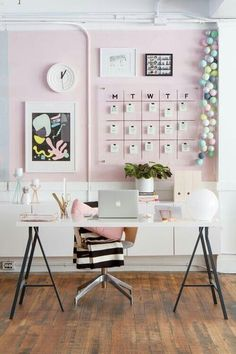 Home Office Desk Decor Ideas . Home Office Desk Decor Ideas . Modern Pink White and Black Home Office Workspace Decor Pink Office Decor, Home Office Decor, Office Furniture, Furniture Plans, Kids Furniture, Pink Home Decor, Furniture Design, Cheap Office Decor, Cheap Office Ideas