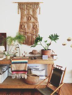 plants, macrame, wood, white