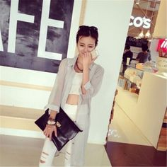 Spring And Summer Long Section Irregular Solid Color Chiffon Shirt Thin Cardigan SunscreenGrey YH15042123.http://www.clothing-dropship.com