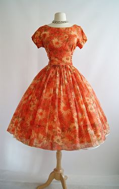 Vintage 1950s cheerful orange floral print party dress by xtabayvintage