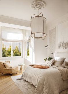 Beautiful Bedrooms, Beautiful Homes, Farm Stay, Home Bedroom, Decoration, Sweet Home, House Design, Ceiling Lights, Curtains