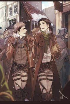 Attack on Titan/Shingeki no Kyojin, Jean and Marco Cute winter clothes! Anime Naruto, Anime Ai, Fanarts Anime, Manga Anime, Anime Nerd, Armin, Levi X Eren, Mikasa, Attack On Titan Jean