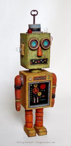 Vintage tin space toy inspired robot by Greg Guedel ~ www.gregguedel.com Robot Monster, I Robot, Vintage Robots, Vintage Toys, Retro Rocket, Found Object Art, Vinyl Toys, Retro Futurism, Classic Toys