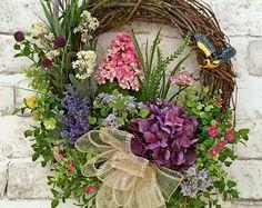 Floral Spring Wreath, Summer Wreath for Door, Front Door Wreath, Silk Floral Wreath, Grapevine Wreath, Outdoor Wreath,Spring Door Decor,Etsy