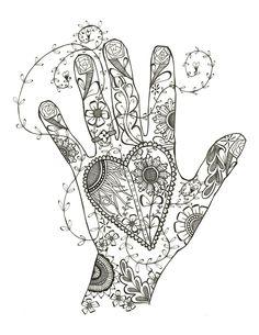 heart flower hand Abstract Doodle Zentangle ZenDoodle Paisley Coloring pages colouring adult detailed advanced printable Kleuren voor volwassenen coloriage pour adulte anti-stress kleurplaat voor volwassenen