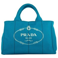 Prada Handle Bag - Canapa Shopping Bag Azzurro - in blue - Handle Bag... (530 AUD) ❤ liked on Polyvore featuring bags, handbags, tote bags, blue, shopping bag, prada tote bag, blue tote bag, top handle bags and pocket tote