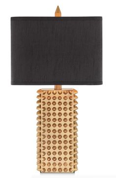 JAlexander Lighting Goldtone Spiked Square Table Lamp