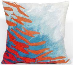 School Of Fish Aqua Indoor/Outdoor Pillow