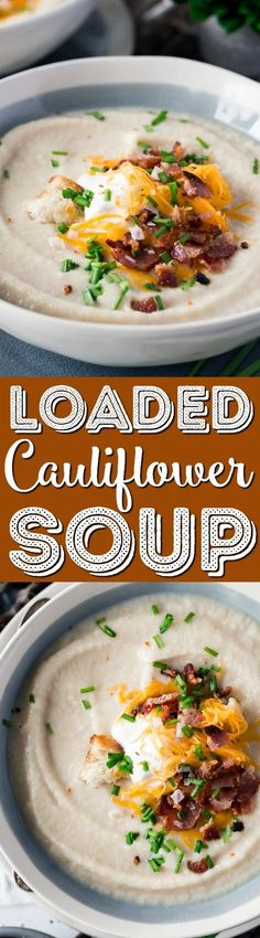 This Loaded Cauliflower Soup is creamy and delicious! It's made with fresh cauliflower, sweet onion, and topped with crispy bacon, cheddar cheese, and sour cream for a healthy meal option. via @sugarandsoulco