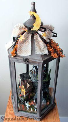 Lisa Hoel – Tim Holtz Village Die Collection Halloween scene lantern #Holtzforhalloween #timholtzvillagedwelling