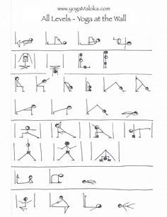 Yoga postures using the wall