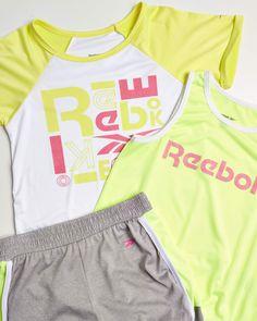 T-Shirt and Bike Shorts Reebok Girls 3-Piece Workout Active Short Set Little Girl Tank Top