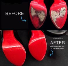 One paint brush for a smooth finish. one jar of cobbler quality red sole paint.   eBay!