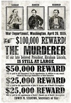 John Wilkes Booth Replica Wanted Poster People Poster - 33 x 48 cm
