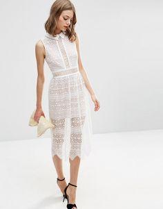 Image 4 ofASOS Lace Collar Geo Lattice Midi Dress