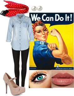 rosie the riveter halloween costume by mac 92 on polyvore - Rosie The Riveter Halloween Costume