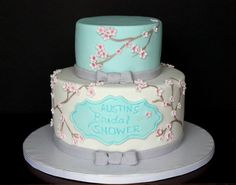 Bridal Shower Cake - Cherry Blossoms  http://www.heavenlybitescakes.com http://www.facebook.com/heavenlybitescakes