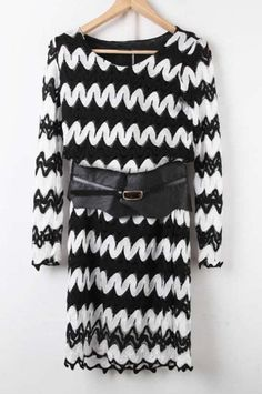 Black and White Long Sleeve Zigzag Hollow Lace Dress