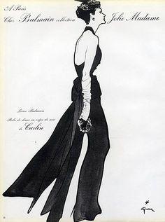 Pierre Balmain 1952 Evening Gown by René Gruau Fashion Art, Retro Fashion, Vintage Fashion, Edwardian Fashion, Pierre Balmain, Jacques Fath, Vintage Advertisements, Vintage Ads, Vintage Posters