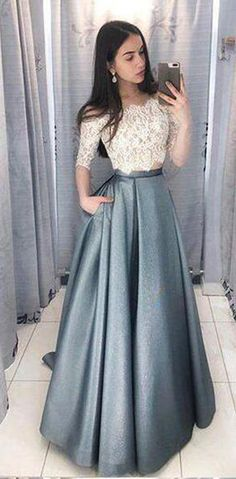 Two Pieces Half Sleeve Lace Grey Long Evening Prom Dresses, Cheap Sweet 16 Dress. Two Pieces Half Sleeve Lace Grey Long Evening Prom Dresses, Cheap Sweet 16 Dresses, 18433 Grey Prom Dress, Prom Dresses Two Piece, Prom Dresses For Teens, Elegant Prom Dresses, Half Sleeve Dresses, A Line Prom Dresses, Lace Evening Dresses, Cheap Prom Dresses, Half Sleeves