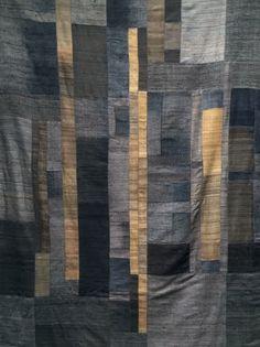 Image of blue/grey/ocre silk patchwork blanket