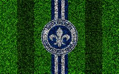 Download wallpapers SV Darmstadt 98, 4k, german football club, football lawn, logo, emblem, blue white lines, Bundesliga 2, Darmstadt, Germany, football, grass texture, Darmstadt FC