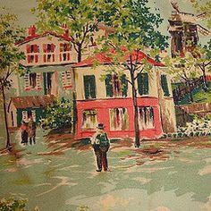 Vintage BARKCLOTH Fabric- Townsquare