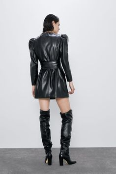 Leather Mini Dress, Leather Dresses, Leather Skirt, Leather Fashion, Sexy Outfits, Leather Boots, Short Dresses, Ladies Style, My Style