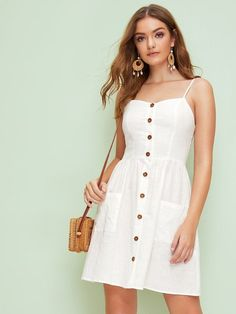 To find out about the Sweetheart Neck Pocket Front Button Up Tea Dress at SHEIN, part of our latest Dresses ready to shop online today! Elegant Dresses, Cute Dresses, Summer Dresses, Sexy Dresses, Summer Outfits, Backless Dresses, Long Dresses, Fall Dresses, Formal Dresses