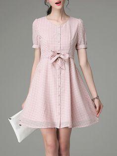 Shop Mini Dresses - Checkered/Plaid Work Bow Short Sleeve Mini Dress online…