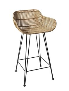We are rattan obsessed and love how this classic design has had a contemporary twist. Complete with a sturdy black iron frame and a woven blonde rattan seat in a wide shape for extra comfort.